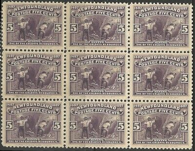 Newfoundland #65 XF MINT NH BLOCK OF 9 -- C$270.00 Rare Multiple