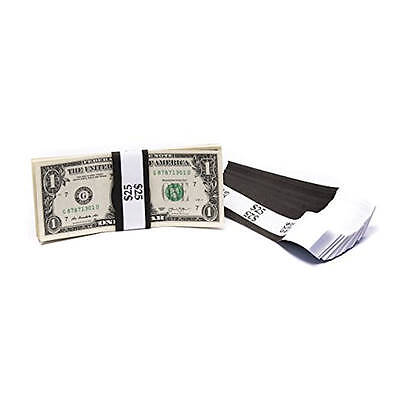 Self Sealing Currency Straps, Money Bands, $25 Black 1000 pack