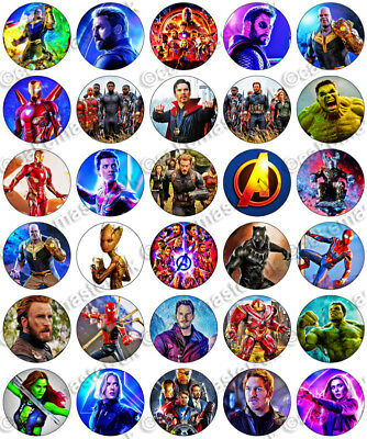 30 x Avengers Infinity War Movie Party Edible Rice Wafer Paper Cupcake Toppers