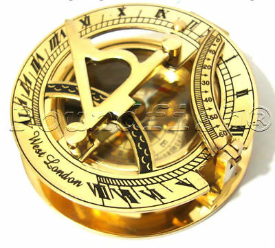 Nautical Solid Brass Pocket Sundial With Magnetic Compass ~ Directional Compass