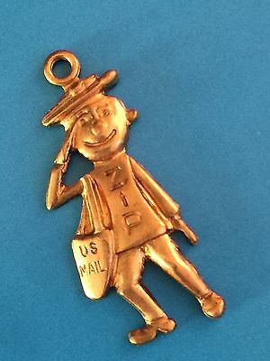 Vintage 1960s Mr. Zip USPS Brass Charm. Never Circulated and in perfect shape.