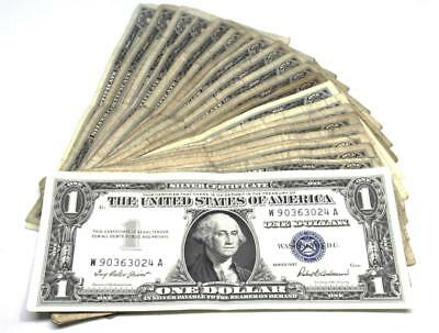One Dollar ($1) Bill  Circulated Silver Certificate Blue Seal  25 pc