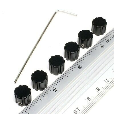 "Control Knobs (6 ea) Amplifier Volume Tone Guitar Bass 6mm 1/4"" D or round shaft"