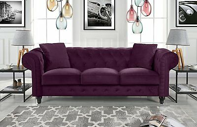 Velvet Scroll Arm Tufted Button Chesterfield Sofa Living Room Couch, Purple