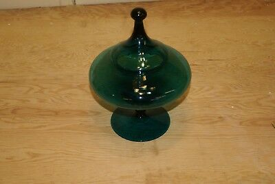 Vintage Space Age UFO Saucer Blue Glass Candy Dish Bowl Mid Century Modern