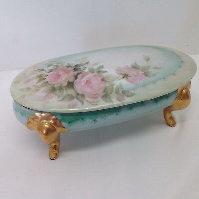 Antique Vtg Gold Footed Trinket Ring Box Dresser Jewelry China Floral Rose