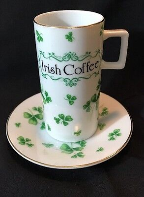 Lefton Irish Coffee Cup and Saucer 02683 Shamrock St Patrick