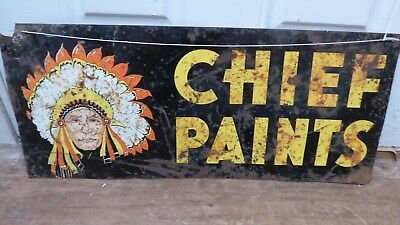 "Vintage 12 x 28"" Chief Paints Double Sided Metal Advertising Sign- House Paint"