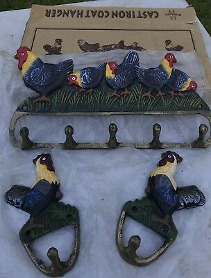 3 Cast Iron ROOSTER Towel Hanger Coat  Hat Hooks, Key Rack -