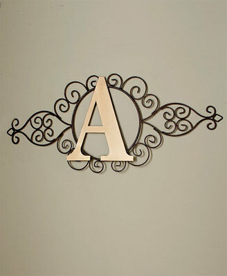 Personalized Scrolled Metal Monogram Hanging Wall Art Rustic Finish Home Decor