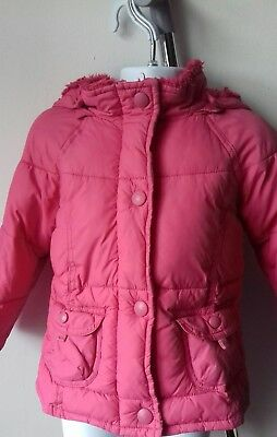 M&S Girls Dark Pink Padded Warm Winter Coat Age 11/2 to 2yrs with Hood