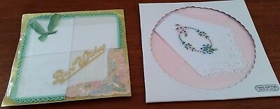Vintage 3 x PINK WHITE GREEN Floral EMBROIDERED Gift Packaged HANDKERCHIEFS
