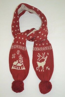 Ralph Lauren Girls Nordic Reindeer Motif Cable-Knitted Pom-Pom Scarf Size 2T-4T