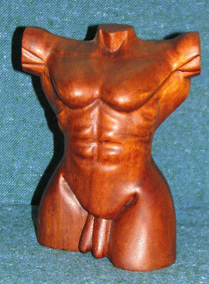Adonis Nude Man Wood Bali Hand Carved Male (A) Nudes FREE SHIP!