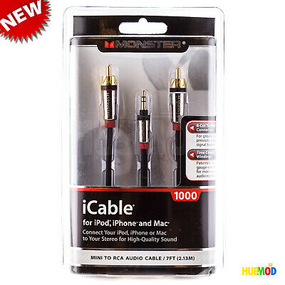 Monster iCable 1000 7FT Cable - Home Audio Mini to RCA for iPhone iPod iPad MAC