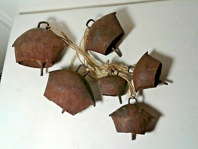 Set 6 Primitive Antique Iron Swiss style Cow Goat Bells Graduated Hand made lot