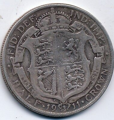 1911 Circulated, Great Britain, Silver 1/2 Crown, Km #818.1