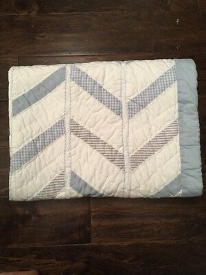 New Pottery Barn Kids Carson Toddler Nursery Bedding Quilt Baby Boy Blue Chevron