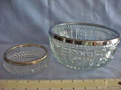 "Vintage English Cut Lead Crystal 5"" BOWL with SILVER Ring and 8"" Pressed glass"