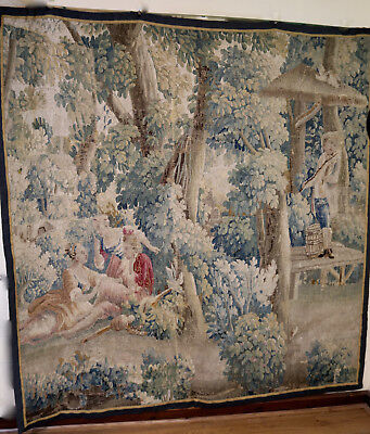 18th Century French Aubusson Verdure Tapestry Romantic Pastoral Scene Louis XIII