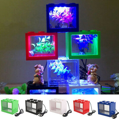 Mini Transparente USB LED carpín Dorado Betta Decoración para Pecera Acuario