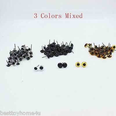 60 Pairs(3 Mixed Color) Glass Eyes 3/4/5/6/7/10mm for Teddy Felting Bears Dolls
