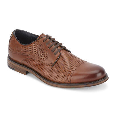 Dockers Men's Mullins Genuine Embossed Woven Leather Cap Toe Oxford Shoe Tan