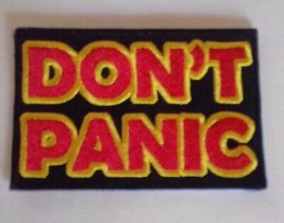 Hitchhikers Guide To The Galaxy Don't Panic Logo Embroidered Patch 8 cm x 5.3 cm