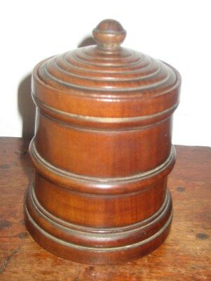 Lovely Old  Wood Turned Wooden Box & Lid Treen