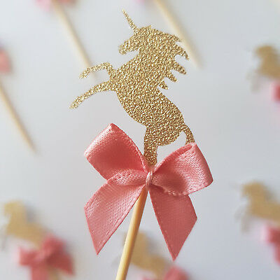 Gold Glitter Unicorn Cupcake Toppers with Dusty Pink Ribbon 12 PACK (kids party)