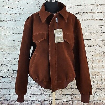 Genuine Garment Brown Mirco Suede Bomber Jacket Adult Large New Made in Italy