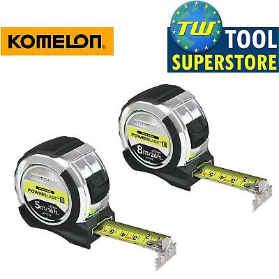 Komelon 5M 16ft & 8M 26ft PowerBlade HI VIZ Tape 27mm Wide Double Sided Magnetic