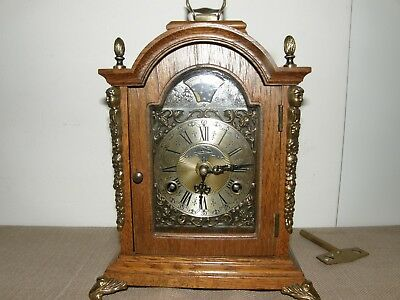 Vintage Warmink Wuba Oak Wood Table Clock With Mo0N Phase.