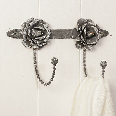 Vintage Distressed French Grey Rose Double Coat Hook Board by Dibor