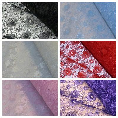 Budget Flower Lace Fabric - Design 1 - Various Colours (Per Metre)