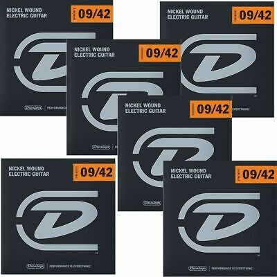 6 x Dunlop DEN0942 Nickel Plated Steel Light Electric Guitar Strings 9 - 42