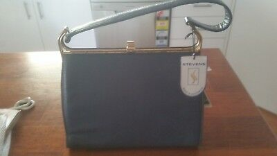 Vintage blue leather bag Made in Australia by Stevens Never used. still has labe