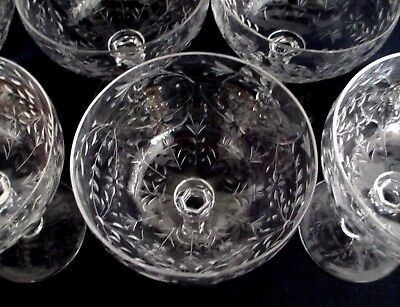 Antique Fine Wheel Cut Crystal Glass 8 Cocktail Champagne Wine Goblets Stems EXC