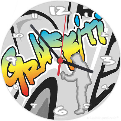 GRAFFITI STYLE childrens bedroom WALL CLOCK (matches our boys girls room decor)