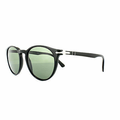 a2aceb06b39 Persol Shiny Black Sunglasses Authentic Po3152S 9014 31 Crystal Green Italy  New