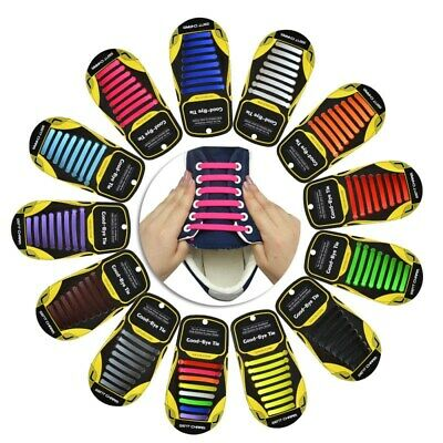Fashion No Tie Shoelaces Magic Sneakers Elastic Silicone Adults Kids Flat Laces