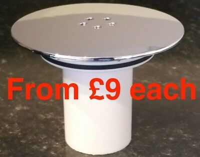 90mm High-Fast Flow, Shower drain waste, Replacement Chrome Cap & Tube 115mm dia