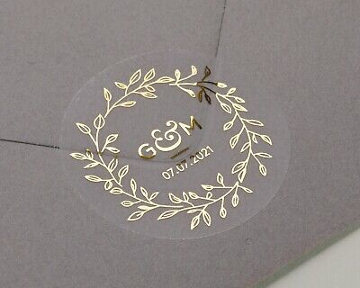 Wedding stickers, Initials, Date personalised wedding labels. Transparent Foiled