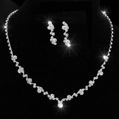 Silver Tone Crystal Tennis Choker Necklace Set Earrings bridal jewelry Wedding B