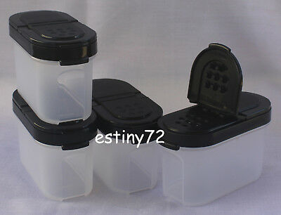 Tupperware Modular Mates Small Spice Containers Set (4) Black Seals New