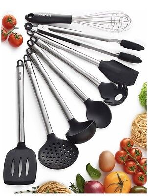 Set of 8 Kitchen Utensil Set Nonstick Cooking Spatulas Silicone Stainless Steel