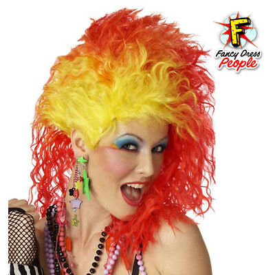 1980's True Colors Cyndi Lauper Red and Yellow Fancy Dress Party Costume Wig