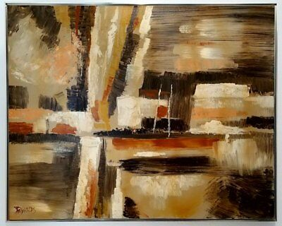 Beautiful Large Vintage Abstract Oil Painting Signed Reynolds