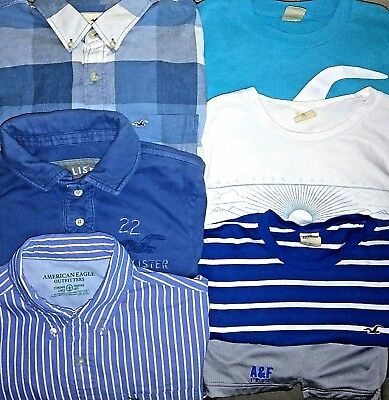 Mens Abercrombie & Fitch/Hollister Lot Of 7 Size L Button Front/T-Shirts/Shorts
