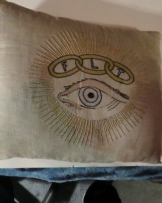Antique  FLT Odd Fellows rare embroided pillow IOOF Roseburg Or. ALL SEEING EYE